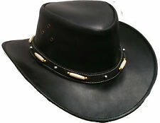 Bush Hat Black Leather Cowboy Western Aussie Style Australian Style Rain Proof