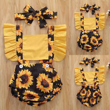 ❤️Newborn Baby Girl Summer Sunflower Casual Romper Jumpsuit Headband Outfits Set