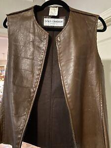 Dolce Gabbana Women's Leather Jacket Vest Size Zip Up