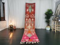 Handmade Moroccan Boujaad Runner Rug 2'3x10'7 Berber Geometric Red Pink Wool Rug