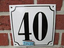 Hausnummer Mega Groß  Emaille Nr 40 schwarze Zahl weißer Hintergrund 20cmx20 cm