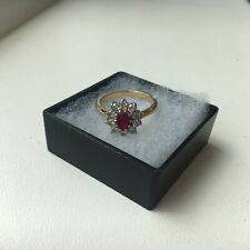 18ct Gold Ruby & Diamond cluster ring, Size K, July Birthstone, Engagement/ Bday