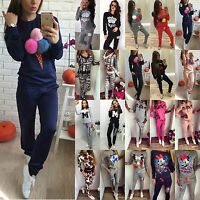 2Pcs Women's Tracksuit Hoodie Sweatshirt Pants Sets Sport Wear Heart Casual Suit