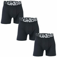 Mens Under Armour Charged Cotton 6 Inch Boxerjock 3 Pack In Black- Charged