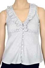 RODNEY CLARK SZ 8 WOMENS White & Navy Striped Ruffle Frill Front Sleeveless Top