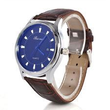 Men`s Quality Silver Beinuo Quartz Blue Dial Date Window Brown Band Wrist Watch.