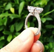 Certified 3.19 Ct Oval Cut Diamond Prong Halo Engagement Ring 14K White Gold