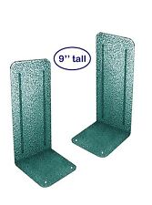 "Acrimet Jumbo Platinum Bookends 9"" (Green Silver Color) (1 Pair Pack)"