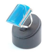 Anello agata blu striata in argento 925 rodiato in oro bianco misura regolabile
