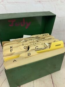 Vintage Green Metal Recipe Box With Lots Of Recipes Clipped From Newspapers
