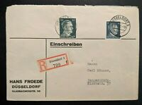 1942 Dusseldorf to Tangermünde Germany Hans Froede Registered Mail Cover