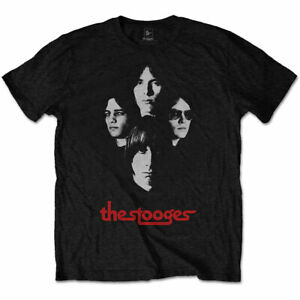 Official The Stooges Group Shot Mens Black T Shirt The Stooges Iggy Pop Tee