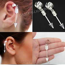 FASHION ALLOY ARROW DESIGN SCAFFOLD BARBELL EAR CLIP WITHOUT PIERCING EARING NEW