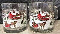 2 Libbey Rock-Sharpe Winter Village Glass Mugs  3 & 3/4 inches tall