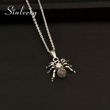 Vintage Antique Silver Spider Pendant Necklace For Women White Gold Chain Xl700