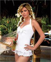 WHITE BIKINI COVER UP MINI RARA HALTER DRESS BEACH LEG AVENUE 10 TOWELING SUMMER