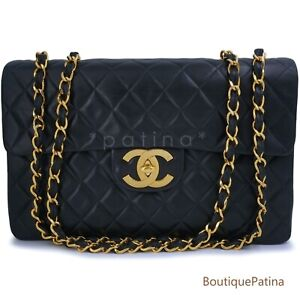 "Chanel Vintage Black Lambskin Maxi ""Jumbo XL"" Classic Flap Bag 24k GHW 64214"