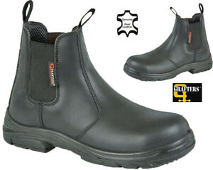 Grafters Wide Fit Dealer Safety Boots Leather Steel Toe Chelsea Work Boots Shoes