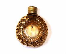 Antico piccolo Oro Metallo Profumo floreale in porcellana con montante Chatelaine Profumo Bottiglia