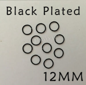 Black Open Split Jump Rings 1.2cm Round Circle Ring Finding Chain Connector 12mm