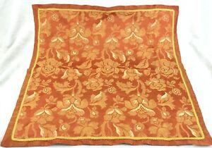 Vintage Damask Square Table Cloth Hand Made Scalamandre Orange Gold Trim