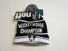 a57939c6e54f4 NWT NEFF Black White Mickey Mouse Knit Hat World Champ Champion Pom Pom  Disney