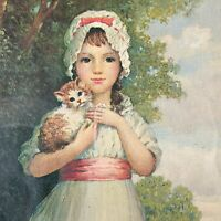 vtg girl holding cat print victorian style framed under glass