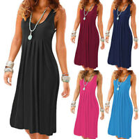 Ladies Womens Summer Holiday Casual Sleeveless Sundress Beach Party Midi Dress