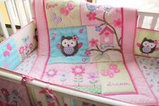7 Pieces Baby bedding set pink Owl Crib bedding set Nappy Stacker Bumper Quilt