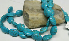 Lot of (2) Natural Blue Turquoise Gemstone 15-20 mm Oval Shaped Bead 16'' Strand