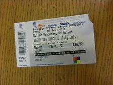 01/02/2011 Ticket: Bolton Wanderers v Wolverhampton Wanderers  (corner slightly