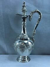 "Vintage Judaica Hazorfim Israel Sterling Silver liqueur wine decanter 16 1/4"""