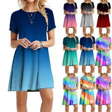 Summer Women Crew Neck Short Sleeve Tie-dye Print Short Dress Casual Loose Dress