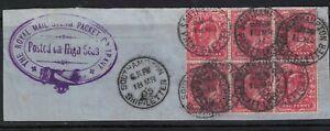 Gb stamps edward vii - block 1d carmine 1905 on piece - paquebot - Southampton