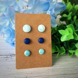 Set of 3 Studs Earrings Handmade Polymer Clay Earrings Set Blue Button Stud