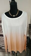 'Outback Red' Women's Orange and White Ombre Thin Knit XL Top