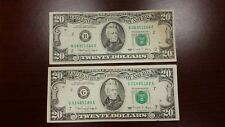Lot of 2 Two Old $20 US Notes Bills (1990) $40.00 Face Value