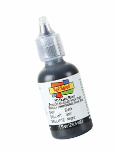 Scribbles 1oz 3D Fabric Paint, Shiny Black