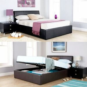 ASCOT OTTOMAN STORAGE BED FAUX LEATHER GAS LIFT 4FT6 DOUBLE 5FT KING BLACK BROWN