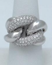 LADIES 18K WHITE GOLD 2.12CT DIAMONDS CABLE LINK STATEMENT DOME RING SI1-2 7 1/2