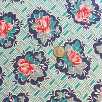 """Vintage Partial Feed Sack Pink & Red Floral w/Aqua, Navy & Grey Accents 20""""x17"""""""