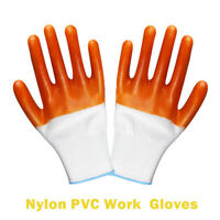Nylon PVC Coated Grip Safety Work Gloves Gardening Builders Engineering Mechanic