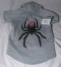 "Dog Costume Sz L New Spider Black Widow Skull Hoodie Fleece 18 to 21"" Gray"