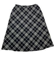 Talbots Women's Size 12W 12 W Black White Plaid Lined Wool Blend Skirt NWT