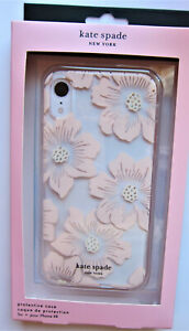Kate Spade protective CASE for iPhone XR Hollyhock Rose Gold with Gems NEW
