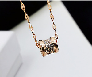 """Gold Plated Titanium Stainless Steel Good Luck Cubic Zircon Bead Necklace 16-18"""""""