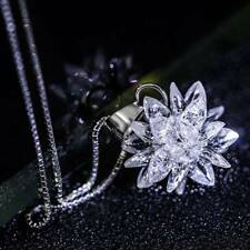Women 925 Sterling Silver Crystal Frost Flower Snowflake Pendant Necklace Chain