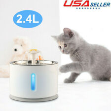 2.4L Automatic Electric Pet Water Fountain Cat Dog Drinking Dispenser Filter Us