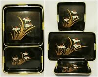 Vtg Japanese Black Lacquer Plastic Serving Trays 3 Piece Tray Set Floral