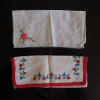 2 Bordados Fundas Hecho a Mano Costura Vintage Arte Nuevo Francia N3542